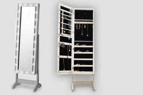 Direct 2 Publik - Free standing 2 in 1 mirrored jewellery cabinet choose from two designs - Save 51%