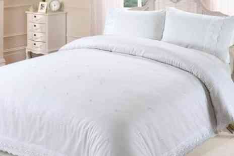 Groupon Goods Global GmbH - Soft Touch Duvet Set With Lace Border Trim - Save 53%