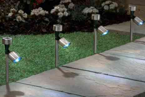 Groupon Goods Global GmbH - 4, 8, 12 or 16 Stainless Steel Solar Spotlights - Save 63%