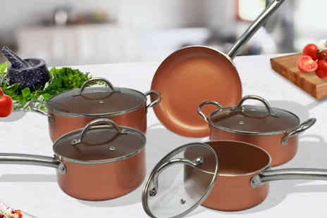 Groundlevel - 9 Piece Non-Stick Copper Colour Pan Set - Save 58%