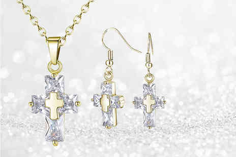 Your Ideal Gift - Gold cross pendant and earring set - Save 90%