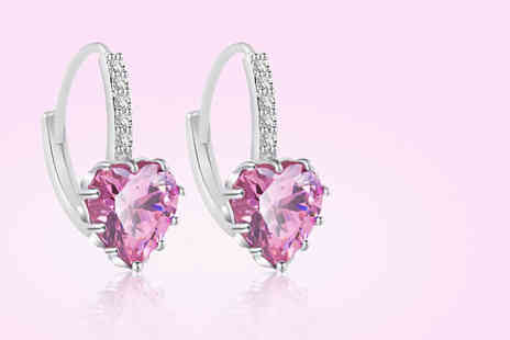 Your Ideal Gift - Pair of pink heart cut created sapphire earrings - Save 85%