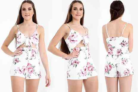 Verso Fashion - Tie front floral playsuit select - Save 70%