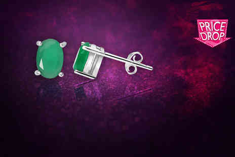 Evoked Design - Pair of emerald stud earrings - Save 90%