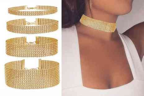 London Exchain Store - Four piece gold diamante choker set - Save 80%