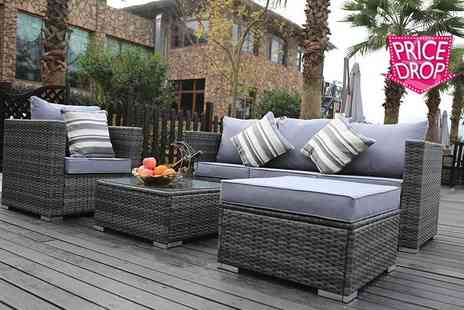 Dreams Living - Monaco five seater rattan sofa set choose black, brown or grey - Save 69%