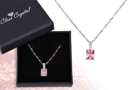 Your Ideal Gift - Emerald cut pink created sapphire necklace - Save 83%