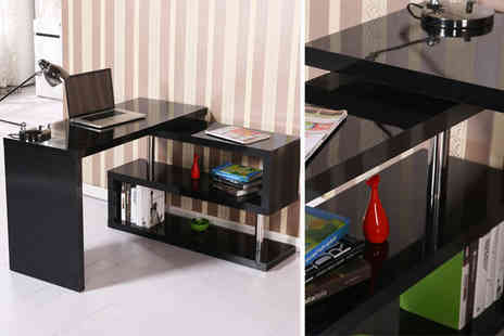Mhstar - Modern high gloss office desk & built in smart shelf choose from two designs -