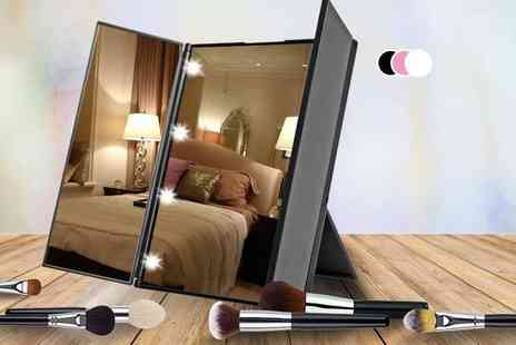 Toy Meets World - Tri fold LED makeup mirror select from three colours - Save 78%