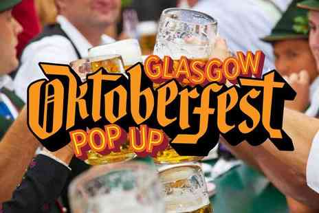 Glasgow Oktoberfest Pop Up 2017 - Two tickets to Glasgow Oktoberfest 2017 including mini bratwurst and half pint of beer each - Save 52%