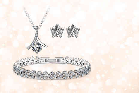 Fakurma - Ribbon pendant tri set receive a gorgeous necklace, bracelet and earrings - Save 92%