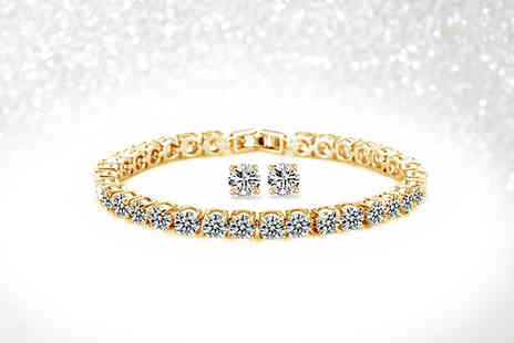 Fakurma - Yellow gold coloured round cut tennis bracelet and earring set - Save 85%
