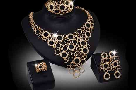 Voodoo Black - Stunning four piece statement jewellery set embellished with crystal - Save 87%