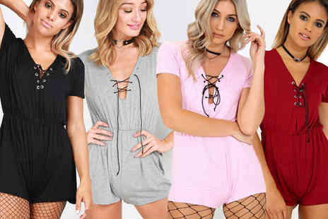 Be Jealous - Lace up jersey playsuit choose from four colours - Save 58%