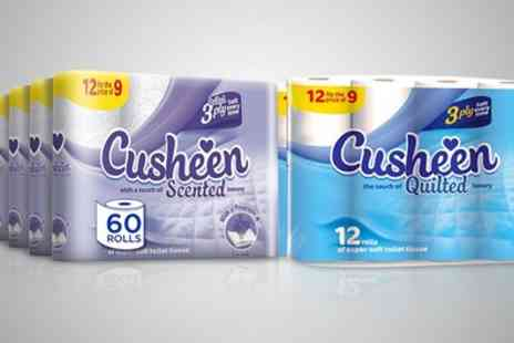 Groupon Goods Global GmbH - 60 or 120 Rolls of Cusheen Lavender Toilet Paper or Luxury White Toilet Tissues - Save 64%
