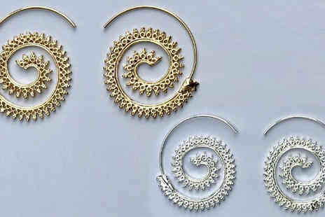 Your Ideal Gift - Spiral Hoop Earrings in 2 Colours - Save 77%