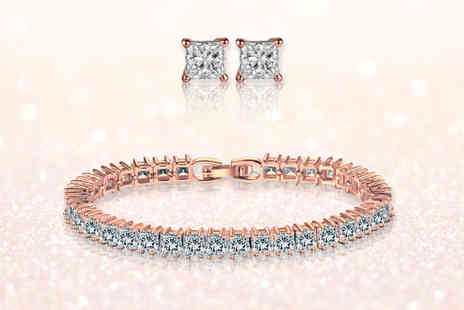 Fakurma - Rose gold coloured round cut tennis bracelet and earring set - Save 82%