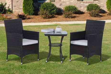 Mhstar - Three piece rattan bistro set, with a limited number available - Save 72%