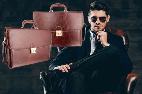 Woodland Leathers - Mens leather briefcase choose from two colours - Save 82%