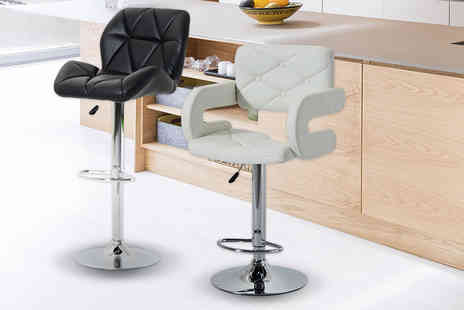 Mhstar - Adjustable PU leather bar stool with chrome base choose from two colours - Save 59%