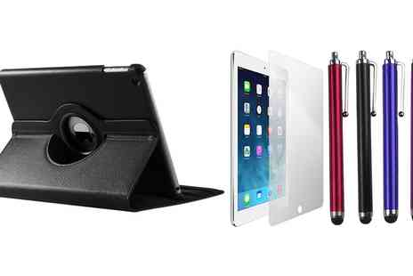 Groupon Goods Global GmbH - iPad, iPad Mini, iPad Air or iPad Air 2 Rotating Case, Stylus and Screen Protector Bundle - Save 85%
