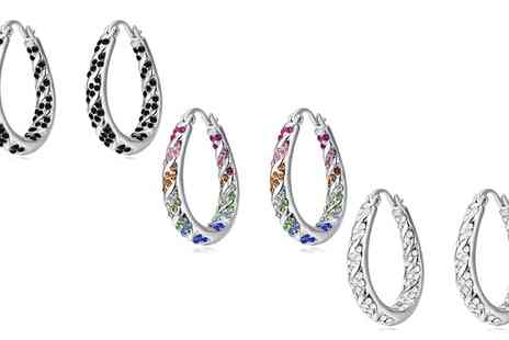 Swarovski - One, Two or Three Pairs of Crystal Hoop Earrings with Crystals - Save 0%