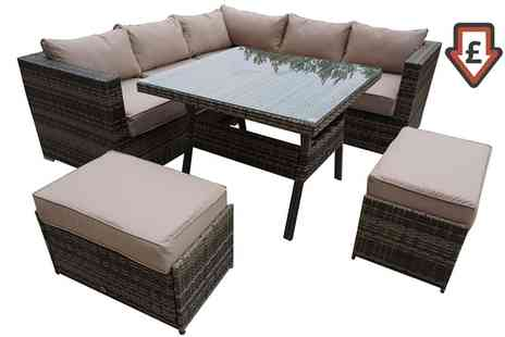 Groupon Goods Global GmbH - Georgia Rattan Effect Dining Sofa In Nature Weave With Free Delivery - Save 0%
