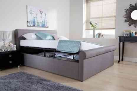 Groupon Goods Global GmbH - Milan Fabric or PU Ottoman Bedframe in Choice of Colour with or without Mattress Include Free Delivery - Save 43%