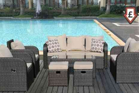 Groupon Goods Global GmbH - Chicago Nine Seater Rattan Effect Set Including Two Reclining Chairs With Free Delivery - Save 0%
