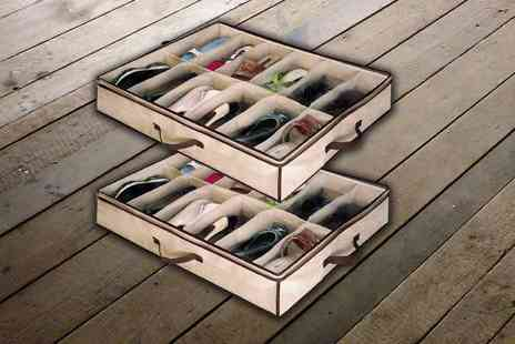 Ckent - Under bed shoe storage organiser that stores up to 12 pairs - Save 80%
