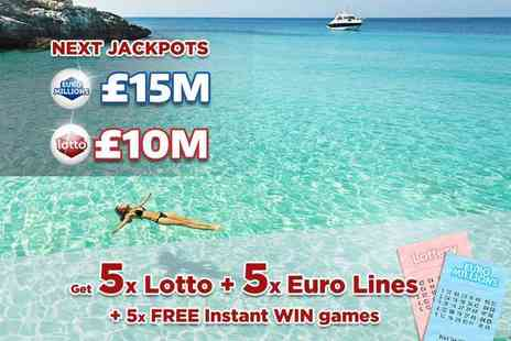 Hatchster - Five syndicated EuroMillions and five Lottery lines, plus five instant win games with chances for an up to £7k win - Save 50%