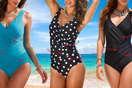 Hawt Online - Slimming Wrap Over Swimsuit in Sizes M or XL - Save 64%