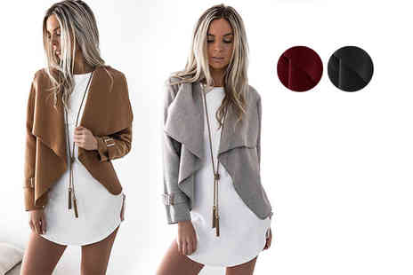 Verso Fashion - Buckle sleeved waterfall jacket - Save 40%