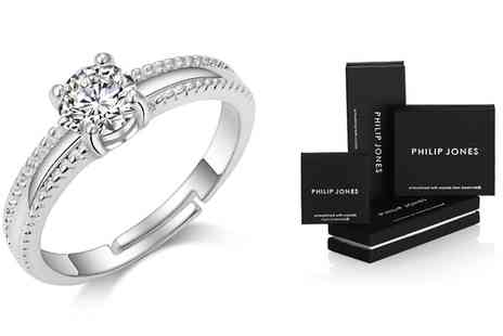 Groupon Goods Global GmbH - Philip Jones Solitaire Ring with Crystals - Save 0%