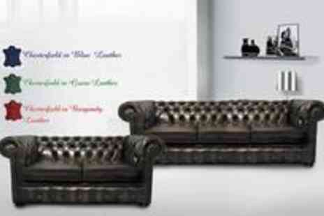 LeatherFabricSofas - Two seater and three-seater luxury leather Chesterfield sofa set - Save 82%