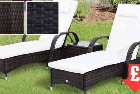 Mhstar - Black Rattan Sun Lounger Set - Save 63%