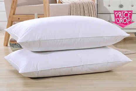 Groundlevel - Two high grade natural white goose feather and down pillows - Save 75%