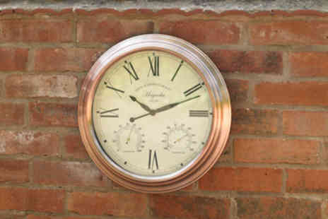 SHS Trading - Extra large copper effect garden wall clock - Save 58%