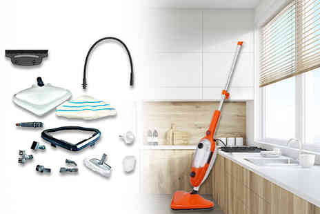 SHS Trading - 15 in 1 1500w lightweight steam cleaner receive an array of attachments - Save 69%