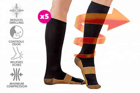 Toy Meets World - Five pairs of anti fatigue compression socks - Save 85%