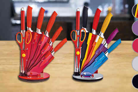 Direct 2 public - 8 Piece Knife Set Stand Available 5 Colours - Save 83%