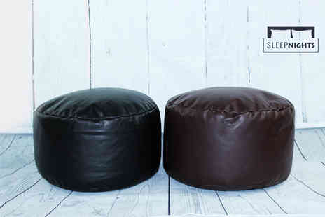 Better Dreams - Luxury faux leather bean bag footstool select from two colours - Save 48%
