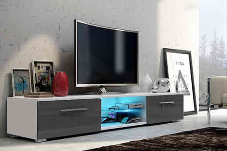 Selsey Living - Contemporary Led TV unit with two storage cupboards - Save 77%