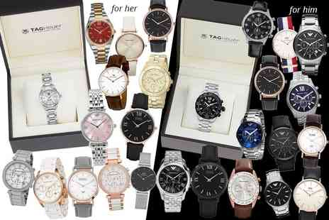 GK1706 - Luxury mystery watch deal for him or her Tag Heuer, Hugo Boss, Emporio Armani, Michael Kors, Marc Jacobs, Daniel Wellington, Luke Henry & more - Save 0%