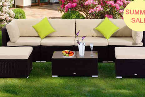 Mhstar - Outsunny 7PC Garden Rattan Furniture Set - Save 19%