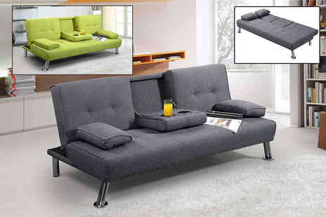 IT Ideas - New York fabric sofa bed choose between green or grey - Save 63%