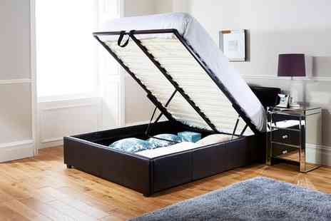 Groupon Goods Global GmbH - End Lift Ottoman Storage Bedframe in Choice of Colour with or without Mattress Include Free Delivery - Save 52%