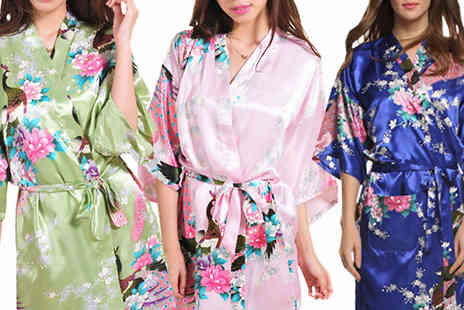 eFindbest - Luxury Silk Blend Kimono Choose From Three Colours - Save 71%