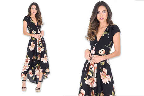 Verso Fashion - Black floral print wrap dress choose from four sizes - Save 60%