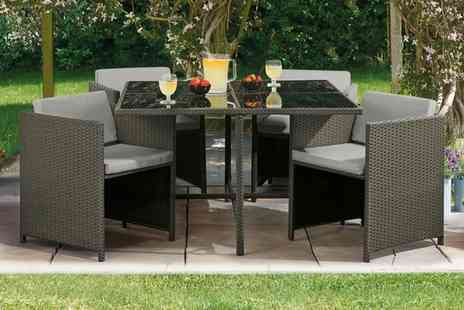Groupon Goods Global GmbH - Siena Five Piece Cubic Rattan Effect Furniture Set with Optional Furniture Covers and Cushion Covers With Free Delivery - Save 50%
